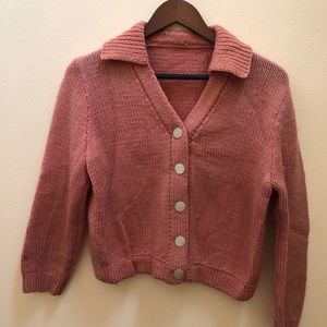 Vintage pale pink crocheted cropped cardigan